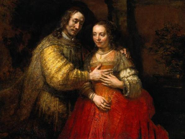 Rembrandt van Rijn, 1667 'Isaac and Rebecca' (The Jewish Bride) 1667. Isaac tenderly wraps his arm around her shoulder and gently touches her breast. Rebecca tentatively touches his hand. Is this love? she seems to be asking?  The identity of the two figures is hotly debated by art scholars. The Rijksmuseum simply lists it as 'Portrait of Two Figures from the Old Testament.' Perhaps it is Abraham and Sarah. In any case, it is a deeply moving painting.