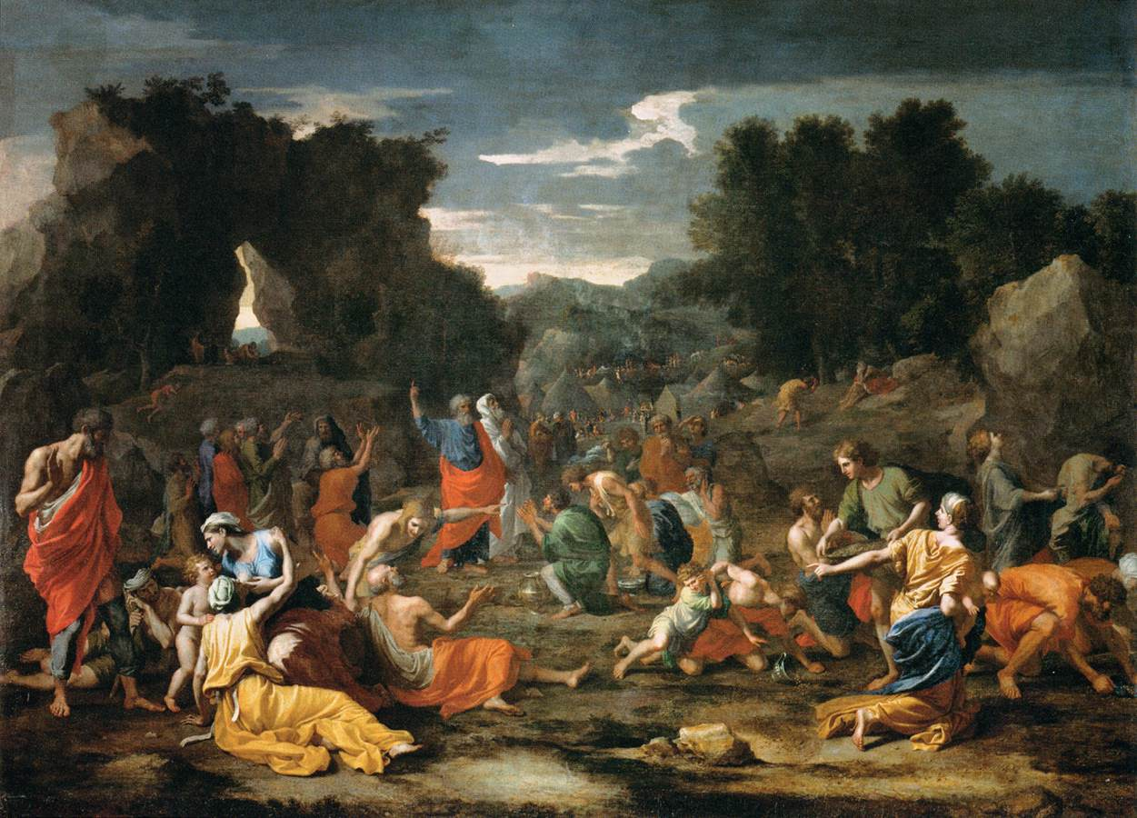 The Jews Gathering the Manna in the Desert by Nicholas Poussin, 1637.