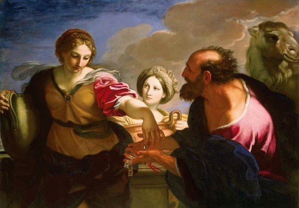 Carlo Maratti, Rebecca and Eliezer at the Well, 1655-7. Here again we see Eliezer offering jewels to rebecca. But here she comes across as serene, anxious to embrace her uncertain future. Maratti was one of the great masters of Baroque classicism. The skin tones and the colors of the clothing are unearthly.
