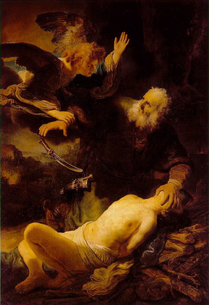 "Rembrandt, Abraham and Isaac, 1634, Oil on canvas 62 x 46""."