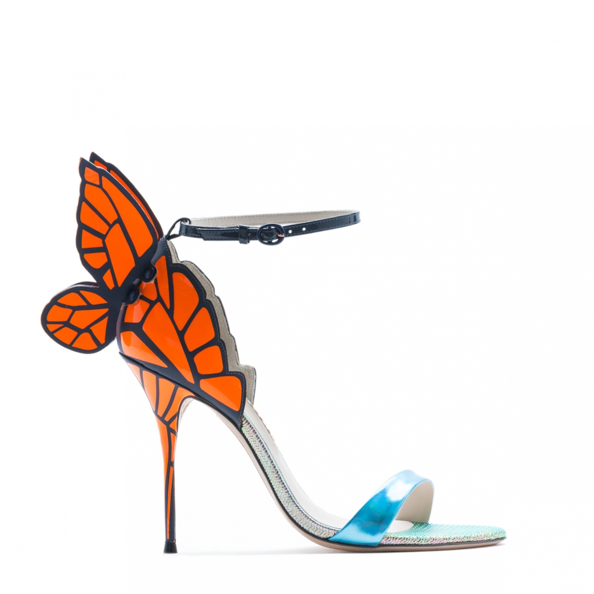 "Freud asked: ""What do women want?"" Poor, clueless Siggy. Women want shoes. And we like the Chiara Holographic Blue Butterfly Sandal by Sophia Webster."