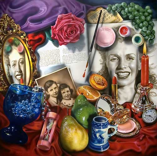 Marilyn (Vanitas) by Audrey Flack, 1977. Oil over acrylic on canvas. Flack was a pioneer of the photo realism movement.