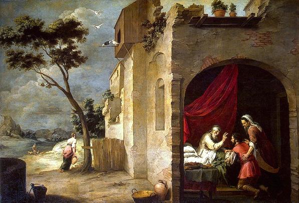 Bartolomé Esteban Murillo, Isaac Blessing Jacob,1665-70. The composition is like a split screen. On the left side is a pastoral landscape, and yet al;l is not well. The building is crumbling before our very eyes. And yet life goes on. A  woman carries a water jug. Two birds nest near the roof. On the right, beautifully framed by the arch we see Isaac giving his blessing to Jacob. Rebecca has a protective arm around her son, as if holding him back fro an impulse to flee the deception.
