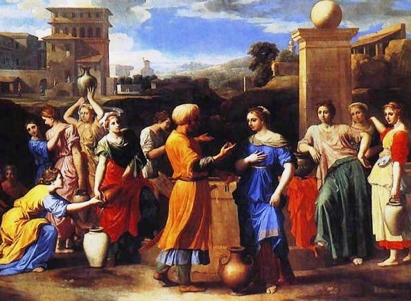 Nicolas Poussin, Eliezer and Rebecca at the Well, 1648. This painting presents a rather complicated narrative. With a hand to her heart, Rebecca is surprised as Eliezer makes his proposal. She doesn't know what to think. meanwhile, notice the tough chick in the long green skirt. Her hand is cocked on her hip and, frankly, she looks skeptical.