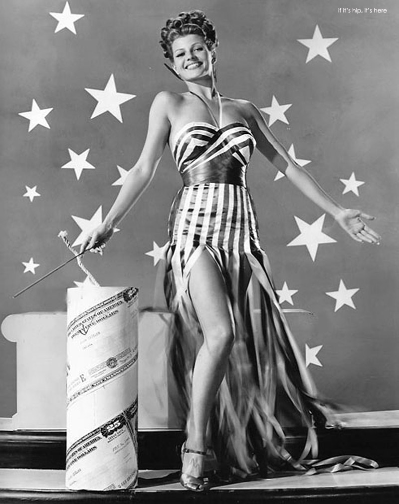 Rita Hayworth as a human flag celebrates July 4.