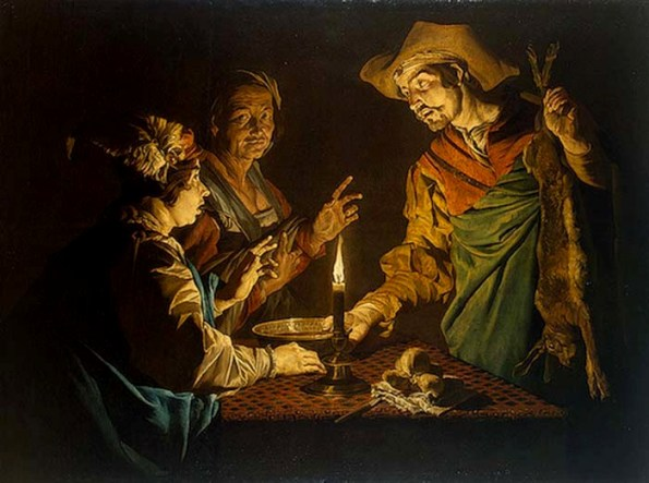 Matthias Stomer, Selling the Birthright, 1640. Esau has just returned from hunting. the hare he has killed will take a while to cook. Meanwhile he is hungry. Jacob offers his brother the lentil soup he has prepared — in return for Esau's inheritance. Isaac does not seem all that sure of himself. But Rebecca stares directly at us, a strong woman in control of her family — and Jewish history.