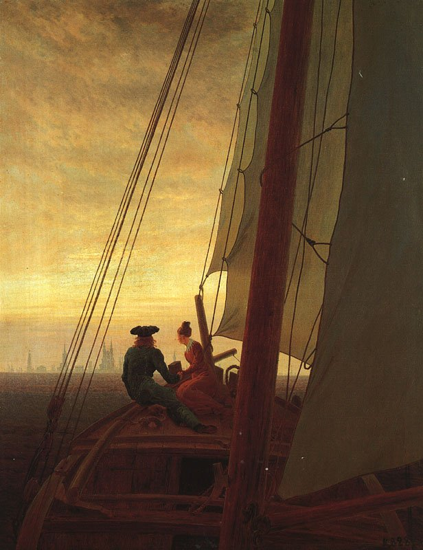 Caspar David Friedrich On a Sailing Ship 1818 Oil on canvas 28 x 22""