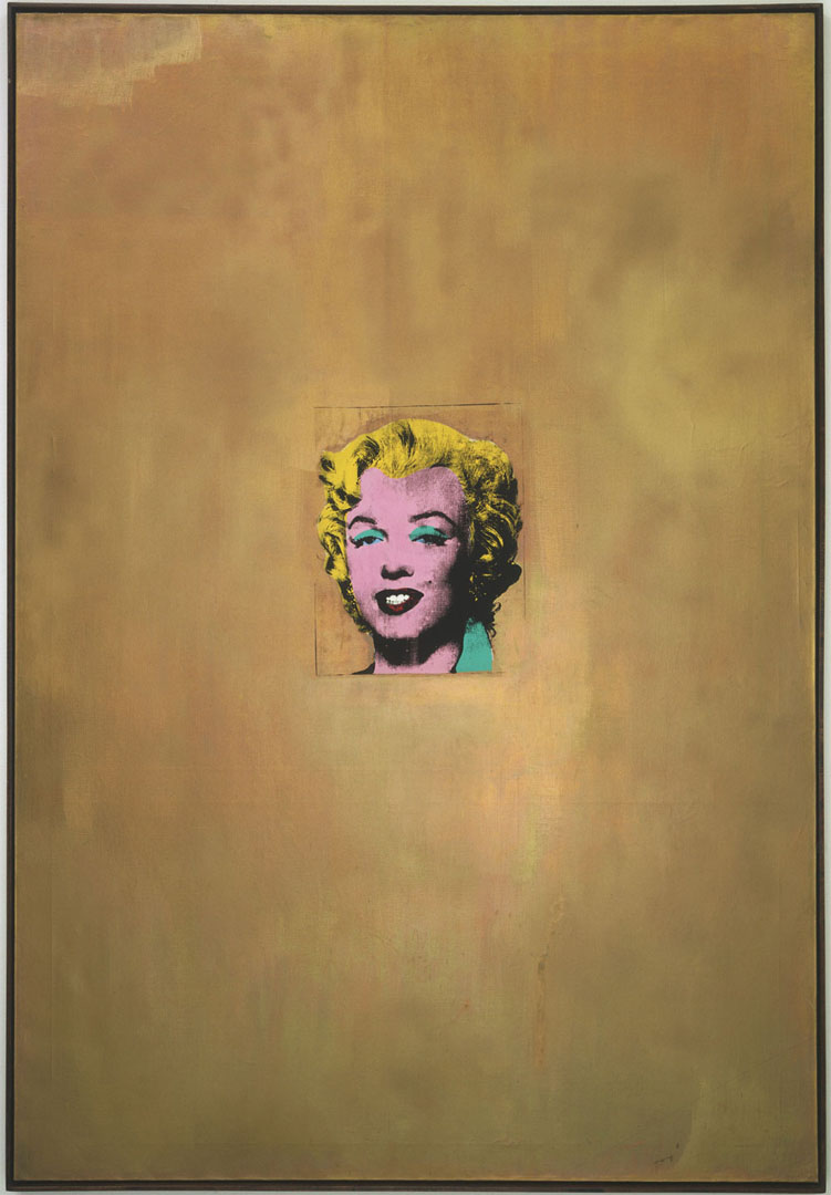 "Andy Warhol Gold Marilyn Monroe  1962  Silkscreen ink on synthetic polymer paint on canvas  6' 11 1/4"" x 57"" (211.4 x 144.7 cm)  Gift of Philip Johnson © 2004 Andy Warhol Foundation for the Visual Arts / Artists Rights Society (ARS), New York"