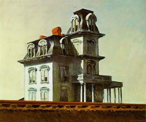 House by the Railroad by Edward Hopper, 1925, is believed to have been the inspiration for the Bates house design.