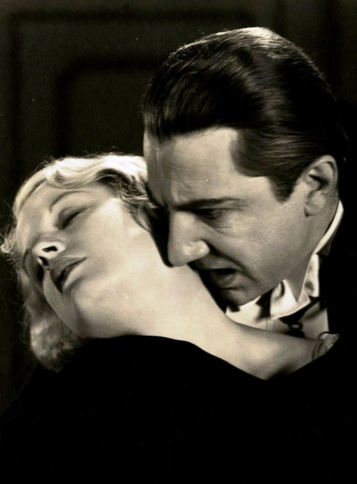 "Bela Lugosi and Helen Chandler in Dracula, 1931. ""When I am given a new role in a horror film, I have a character to create just as much as if I were playing a straight part. Whether one thinks of films like Dracula as 'hokum' or not does not alter the fact; the horror actor must believe in his part. The player who portrays a film monster with his tongue in his cheek is doomed to fail. In playing Dracula, I have to work myself up into believing that he is real, to ascribe to myself the motives and emotions that such a character would feel. For a time I become Dracula - not merely an actor playing at being a vampire. A good actor will 'make' a horror part. He will build up the character until it convinces him and he is carried away by it. There is another reason why I do not mind being ""typed"" in eerie thrillers - with few exceptions, there are, among actors, only two types who matter at the box office. They are heroes and villains. The men who play these parts are the only ones whose names you will see in electric lights outside the theater. Obviously you will not find me competing with Clark Gable or Robert Montgomery! Therefore, I have gone to the other extreme in my search for success and public acclaim."" -Bela Lugosi, Film Weekly, July 1935"