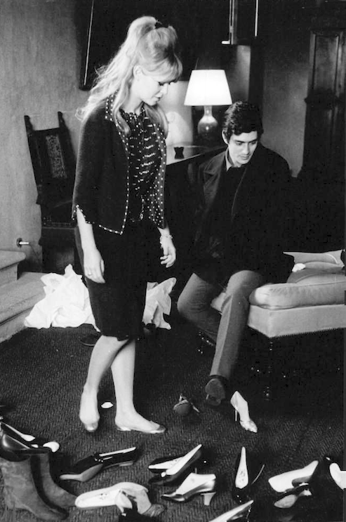 Brigitte Bardot and her boyfriend, actor Sami Frey, and, of course, a girl's best friend, her shoes.