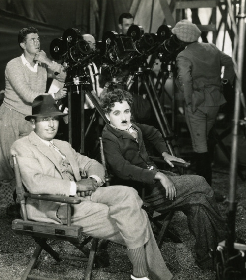 Douglas Fairbanks and Charlie Chaplin on the set of The Gold Rush, 1925.