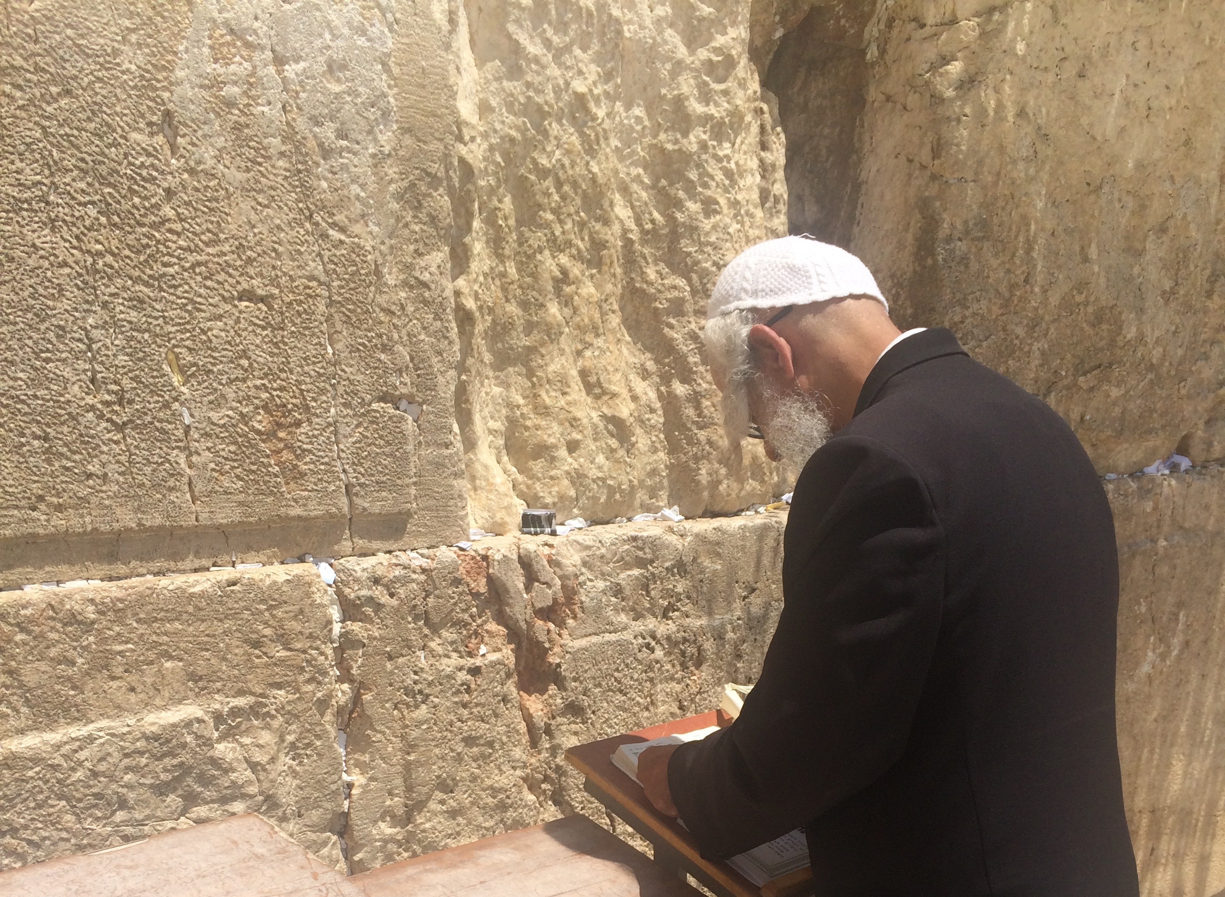 A pious Jew prays at the Western Wall. A few minutes after I took this picture, I placed my face against the hot stone and asked G-d to watch over the soul of our beloved son Ariel Chaim, z'tl.