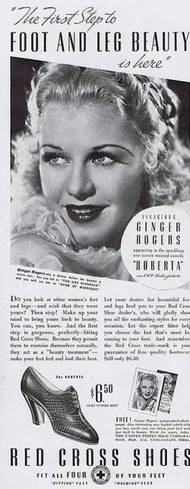I dunno, but I have a hard time seeing Ginger Rogers dancing the night away in Red Cross shoes.