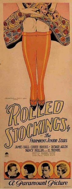 A bold and eye-catching graphic design for the silent 1927 movie, Rolled Stockings.