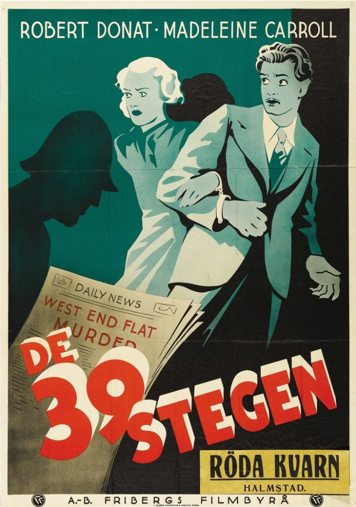 Swedish poster for Hitchcock's The 39 Steps, 1935.
