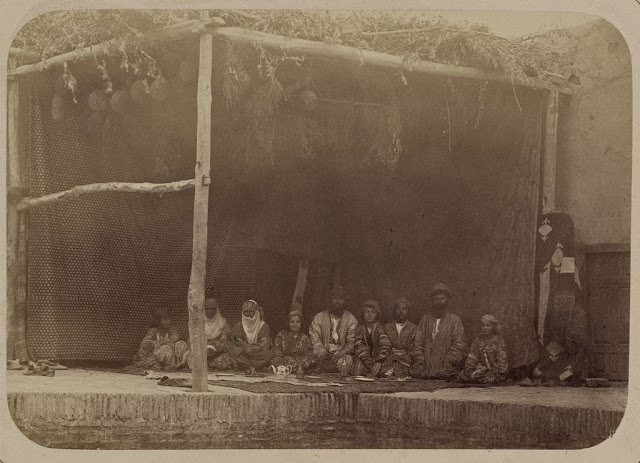 This is a rare photograph of Jews sitting in their Samarkand Succah, circa 1870.