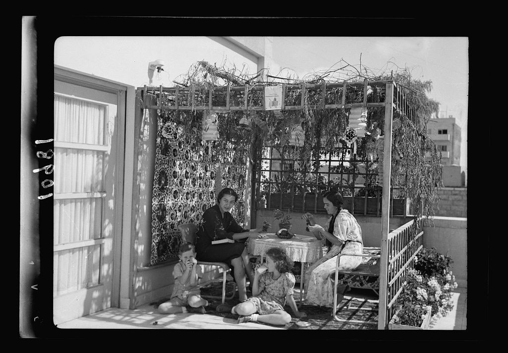 The Bassam family succah, Rehavia, Israel, 1939.