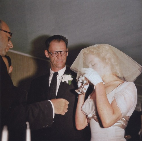 "Marilyn Monroe and Arthur Miller at their Jewish wedding ceremony. MM adored Miller's parents. She particularly enjoyed the matzo ball soup that was served at dinner. After consuming two bowls, MM asked: ""Isn't there any other part of the matzo you can eat?'"