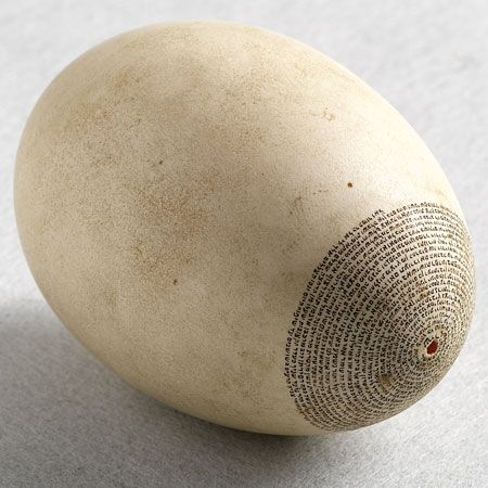 From the 18th century, and perhaps even earlier, hollow eggs on which sacred texts had been written in micrography were used to decorate European sukkahs. Not all the texts related directly to the holiday of Sukkot, the Festival of Booths: this example has Song of Songs 1-4:7 inscribed in miniscule letters. At times feathers were added to the hanging egg, so that it looked like a bird in flight. Poland 19th c.