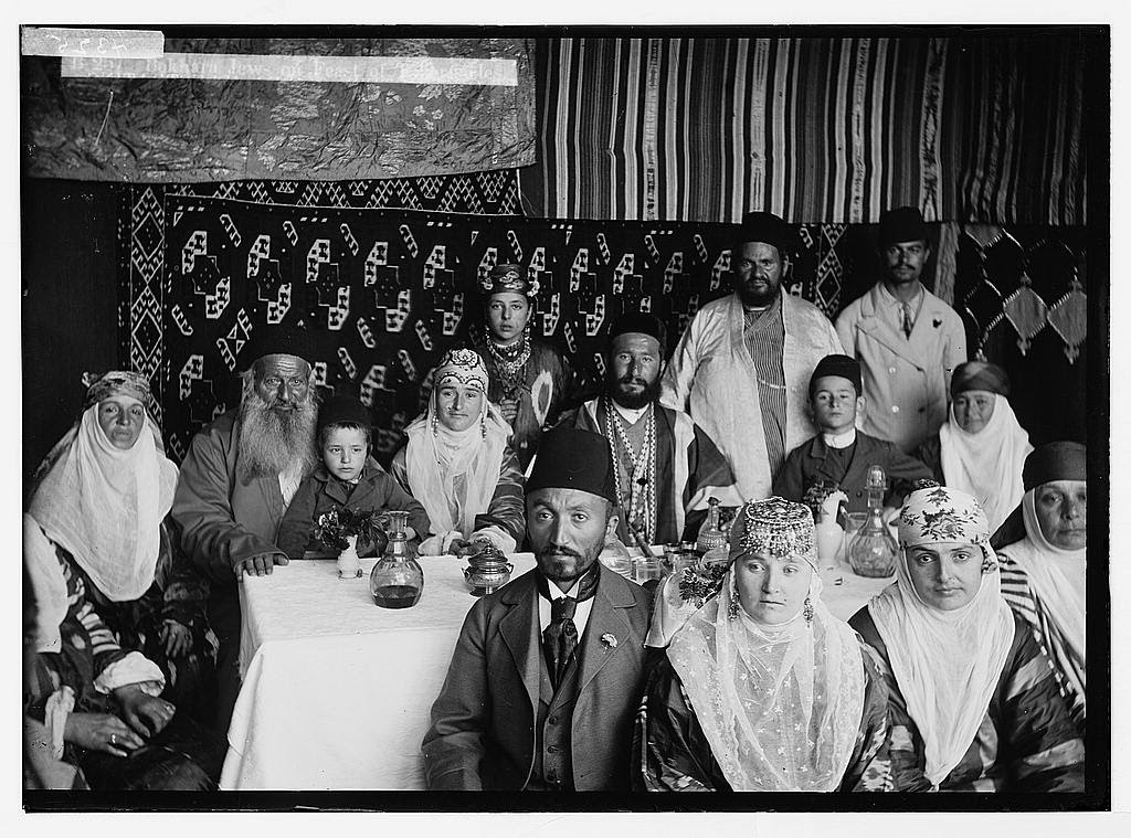 Bukhari Jews, shown in their Succah from around 1900, were part of an ancient community from what is today the Central Asian country Uzbekistan. They started moving to Israel in the mid-1800s.
