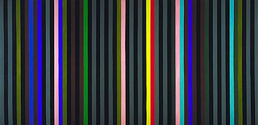 Gene Davis, Black, Grey Beat, acrylic on canvas 90 3/4 x 187 in. 1964