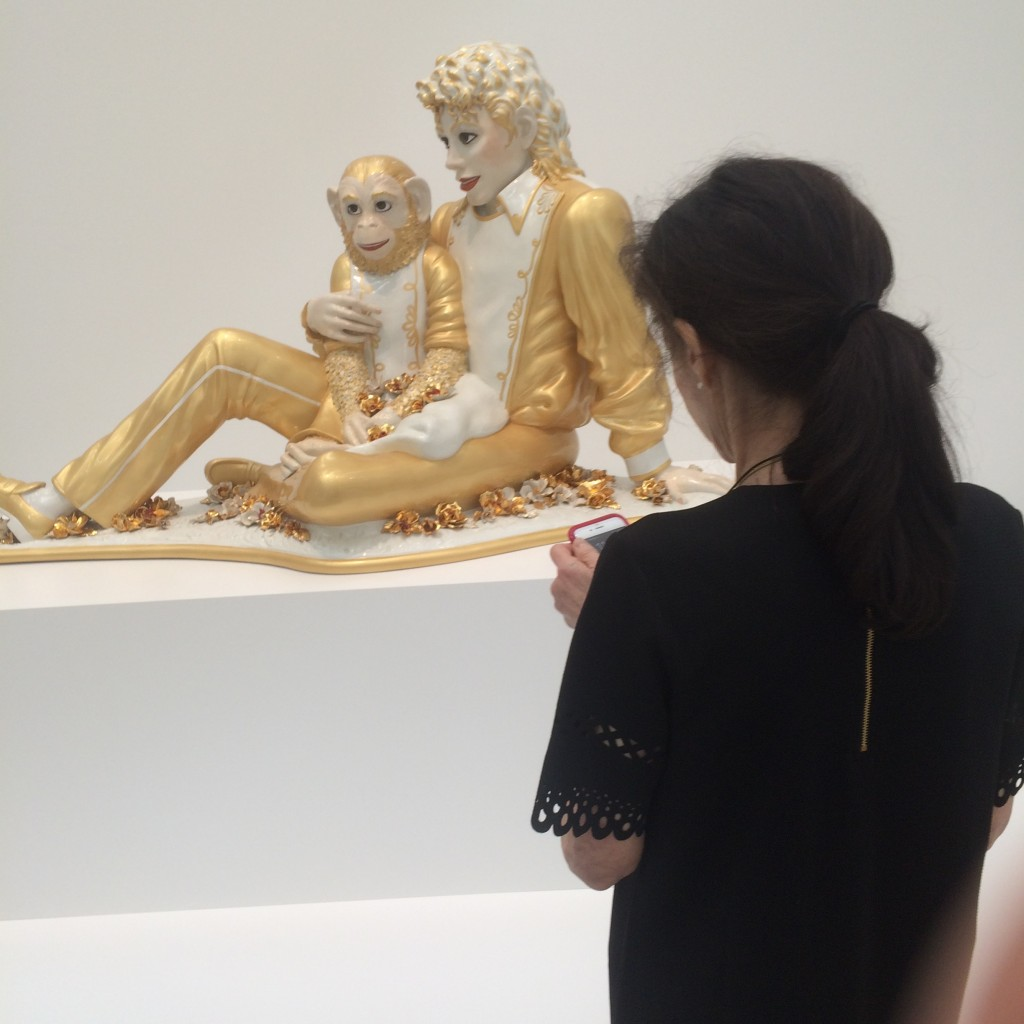 Jeff Koons' work is a one-note statement about art and commerce. But I have to admit that his dopey work makes for a fun picture. Michael Jackson and Bubbles 1988 porcelain 42 x 70 1/2 x 32 1/2 in.