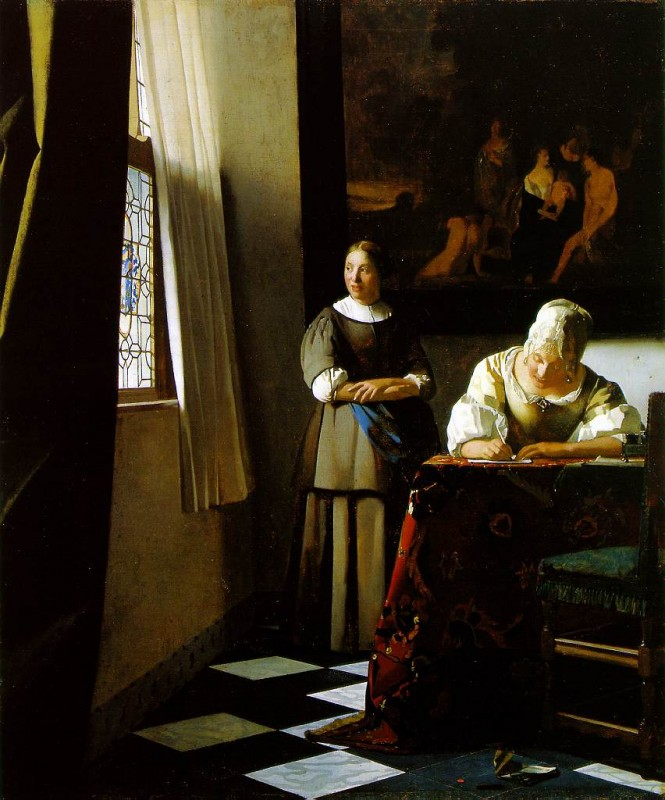 Vermeer, Lady Writing a Letter with Her Maid.