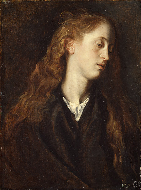 Study Head of a Young Woman, possibly 1618–20 Anthony van Dyck (Flemish, 1599–1641) Oil on paper, laid down on wood; 22 1:4 x 16 3:8 in. (56.5 x 41.6 cm)