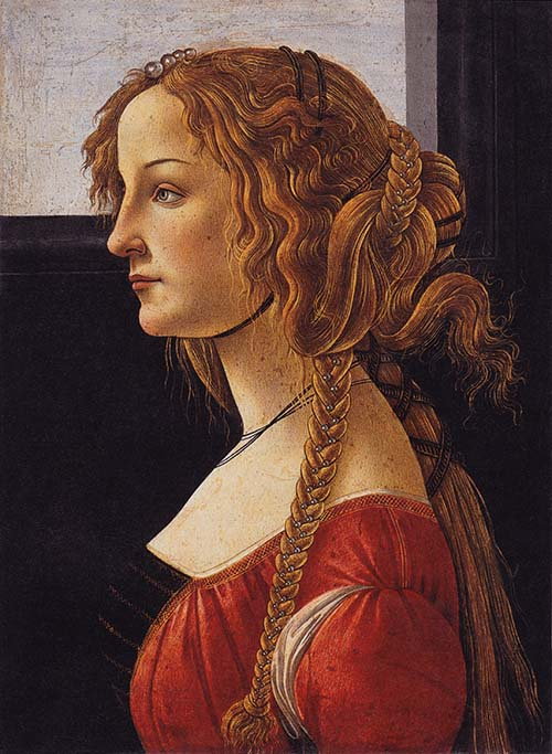 Sandro Botticelli, Portrait of a young woman (Simonetta Vespucci ?) 1476-1480 Tempera on wood, 47.5 x 35 cm