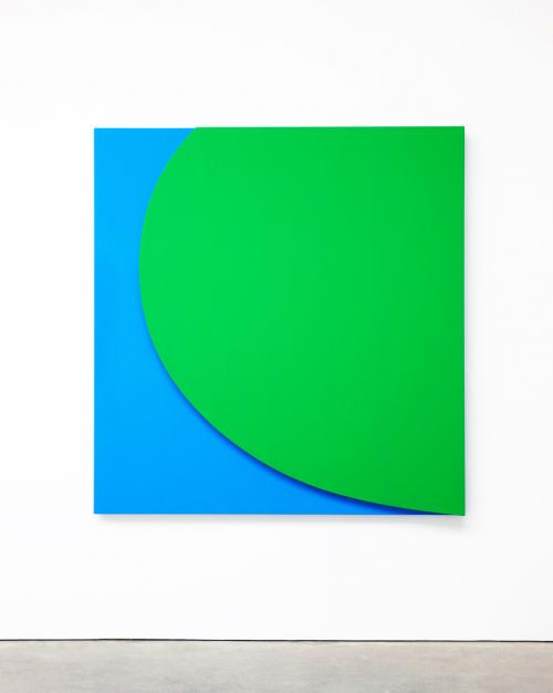 This painting by Ellsworth Kelly is such a powerful optic that I could not stare at it for very long without becoming dizzy. Green Relief with Blue 2011 oil on canvas, two joined panels 70 x 67 x 2 5/8 in. (177.8 x 170.18 x 6.67 cm)