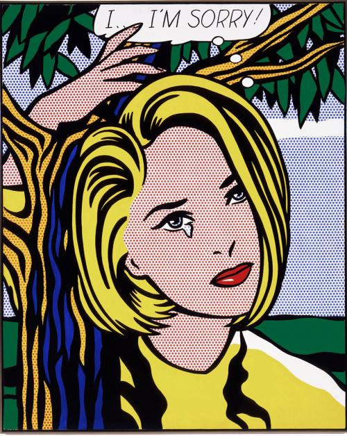 It's easy to forget that Roy Lichtenstein's comic book inspired art was considered quite radical when it first appeared in the 1960s. Now, looking at his work is like meeting up with an old friend. I...I'm Sorry! 1965-66 oil and Magna on canvas 60 x 48 in.
