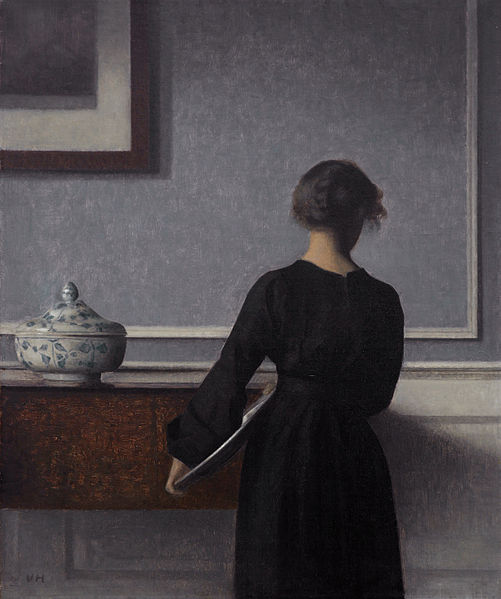 "Vilhelm Hammershøi (1864–1916) ""Interior with Young Woman from Behind"" 1904, oil on canvas, 60.5 × 50.5 cm (23.8 × 19.9 in)"