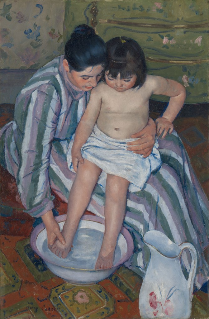 "Mary Cassatt ""The Child's Bath"" 1893, oil on canvas, 39½ × 26 in."