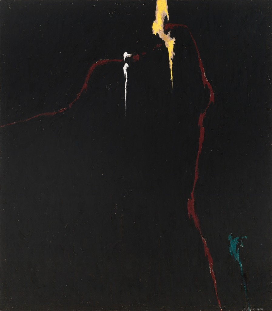 """""""The pictures are to be without titles of any kind. I want no allusions to interfere with or assist the spectator. Before them I want him to be on his own, and if he finds in them an imagery unkind or unpleasant or evil, let him look to the state of his own soul."""" —Clyfford Still PH-235, 1944, Oil on canvas 105 x 92.5 in"""