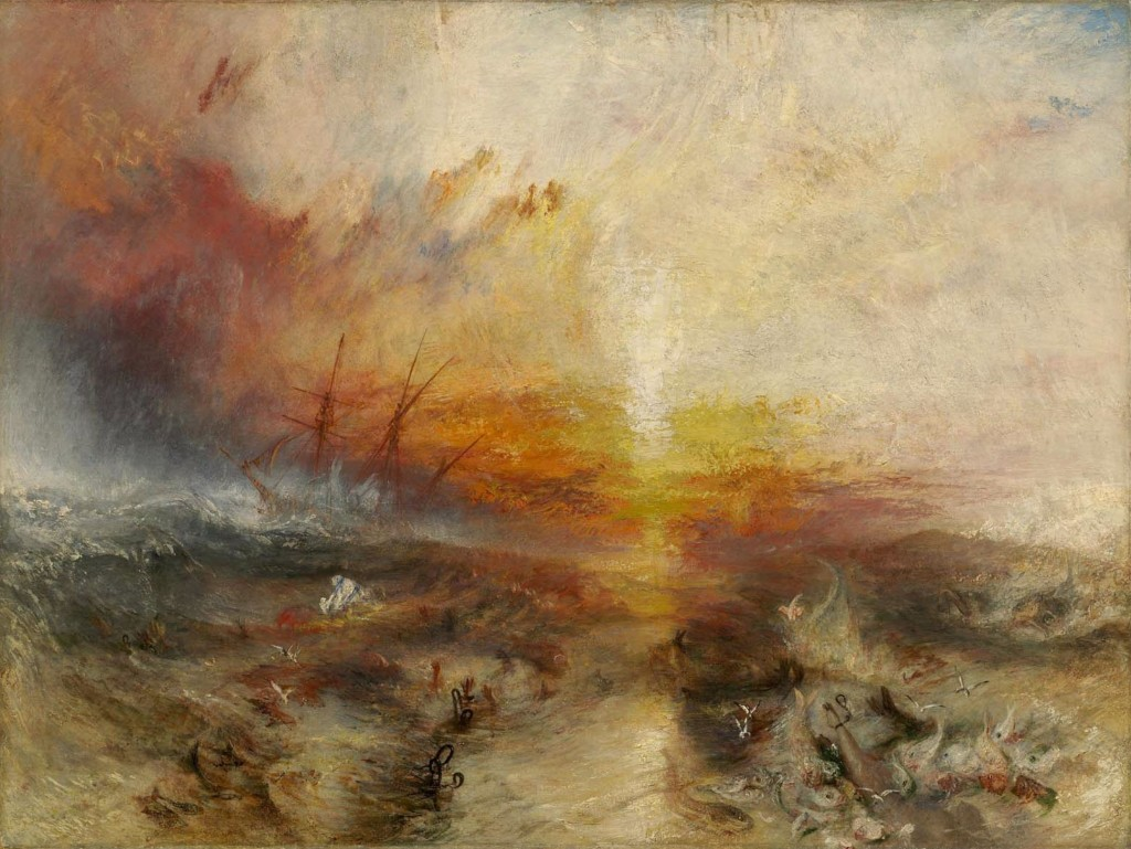 "J.M.W. Turner, ""The Slave Ship,"" 1840, Oil on canvas. 90.8 × 122.6 cm,"