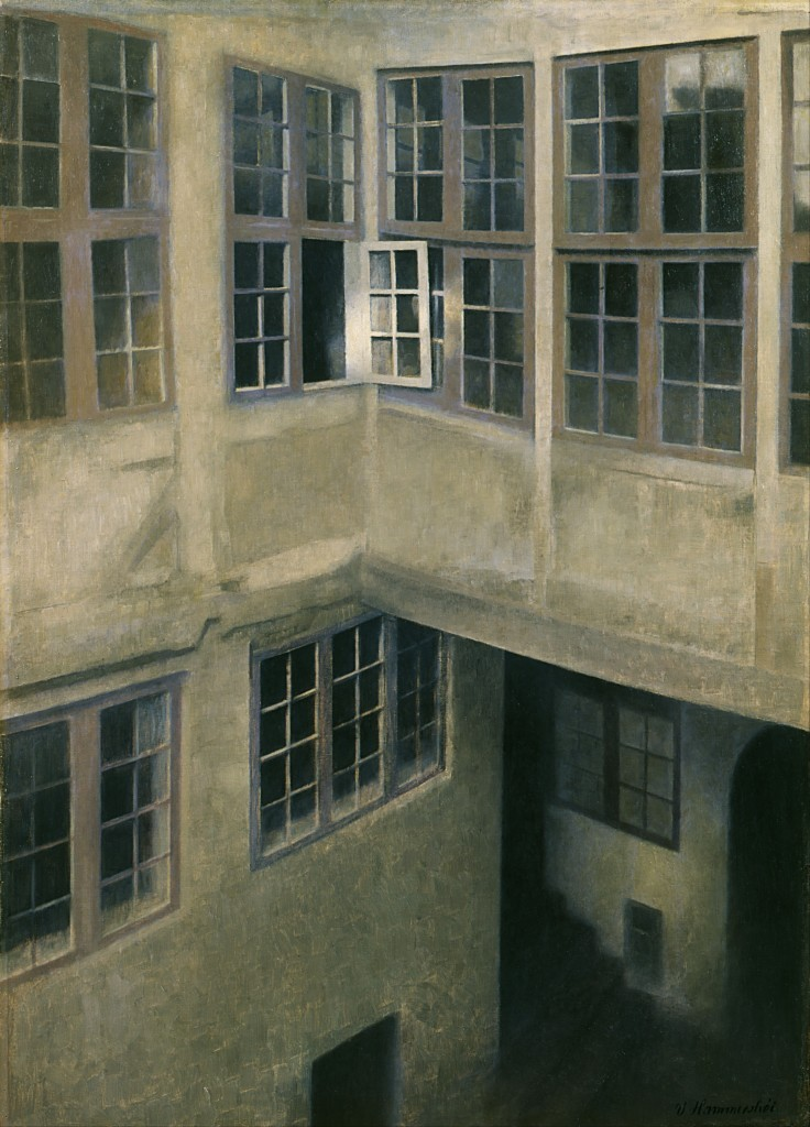 "Vilhelm Hammershøi (1864–1916) ""Interior of Courtyard, Strandgade 30 Object typePainting Date 1899 Medium oil on canvas Dimensions Height: 660 mm (25.98 in). Width: 470 mm (18.5 in)."