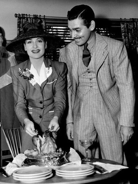 Carole Lombard and Clark Gable celebrate Thanksgiving, 1940.