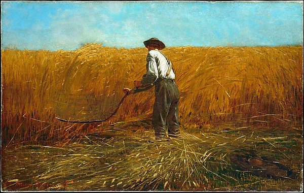 The Veteran in a New Field Artist: Winslow Homer (American, Boston, Massachusetts 1836–1910 Prouts Neck, Maine) Date: 1865 Medium: Oil on canvas Dimensions: 24 1/8 x 38 1/8in. (61.3 x 96.8cm) Framed: 37 3/8 × 51 1/4 × 5 1/4 in. (94.9 × 130.2 × 13.3 cm)