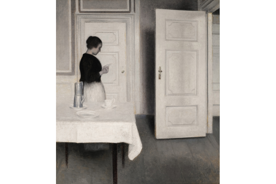 "Vilhelm Hammershøi (1864 - 1916) ""Ida Reading a Letter"" oil on canvas, 26 by 23¼in. 1899."