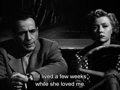 Humphrey Bogart and Gloria Grahame, In a Lonely Place, 1950, Screenplay by Edmund H. North Andrew Solt Based on In a Lonely Place 1947 novel by Dorothy B. Hughes