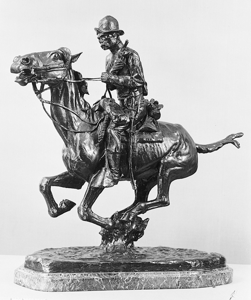 Trooper of the Plains Artist: Frederic Remington (American, Canton, New York 1861–1909 Ridgefield, Connecticut) Date: 1908, cast before 1939 Medium: Bronze Dimensions: 24 5/8 x 25 1/2 x 8 1/4 in. (62.6 x 64.8 x 21 cm)