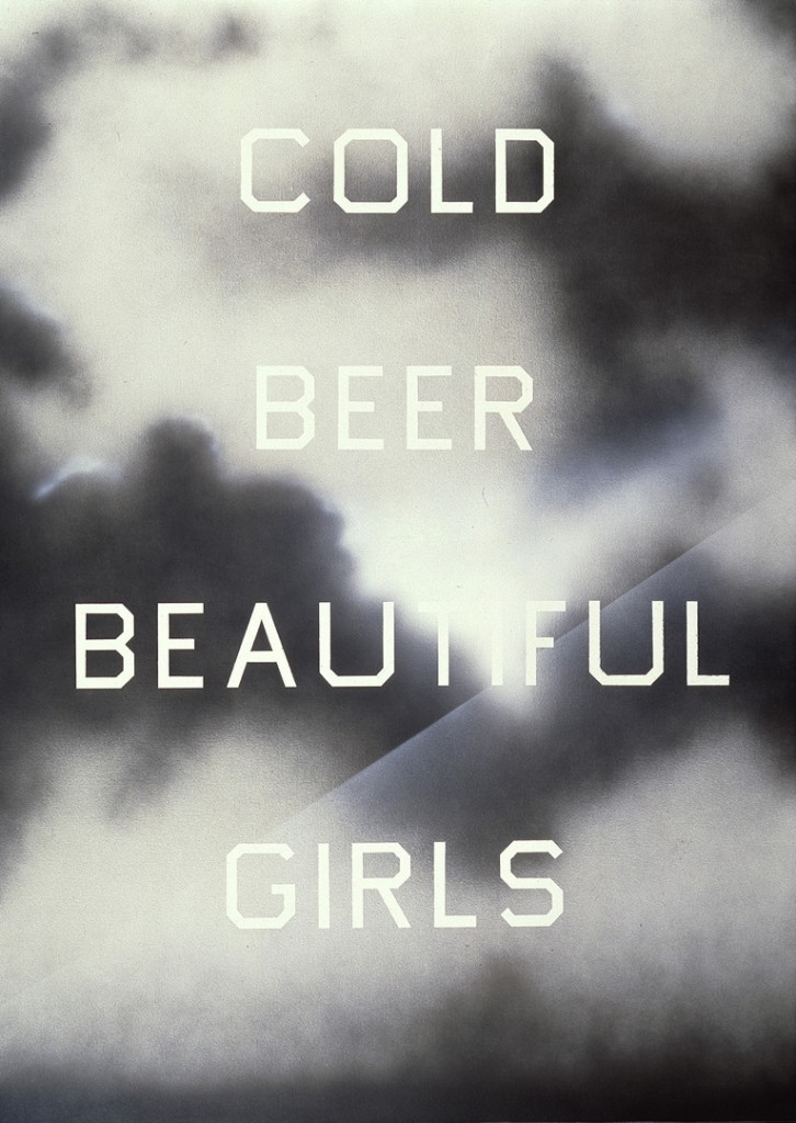 Ed Ruscha The Beer, The Girls 1993 acrylic on canvas 84 x 60 in. (213.36 x 152.4 cm)