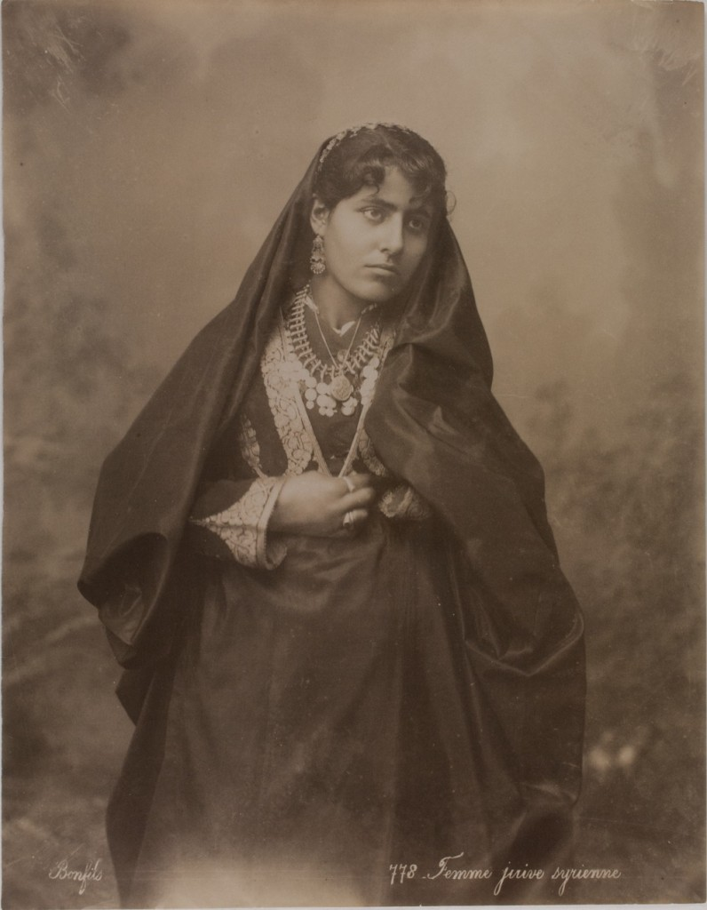 Jewish Syrian Woman, last decade of the 18th century. There are no Jews left in Syria. Photo by the Bonfil Studio.