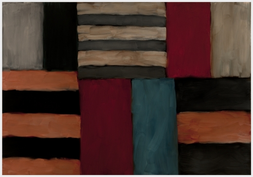 Sean Scully Cut Ground Pink Black Pink 2010 Oil on linen 83.9 x 120.1 in