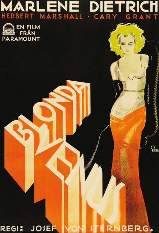 Swedish poster for Blonde Venus, starring Marlene Dietrich