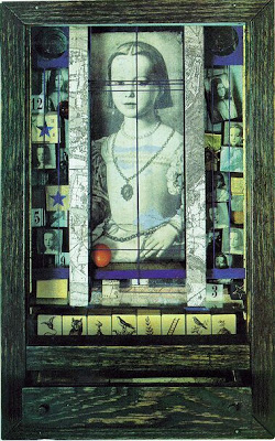 "Joseph Cornell, ""Medici Princess"" c. 1948 Construction 17 5/8 x 11 1/8 x 4 3/4, Private Collection Sources: Agnolo Bronzino, Bia de Cosimo de Medici (Uffizi, Florence),"