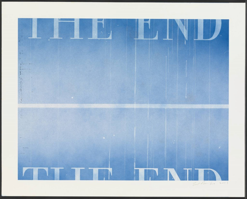 THE END #40 2003 Edward Ruscha born 1937 ARTIST ROOMS Acquired jointly with the National Galleries of Scotland through The d'Offay Donation with assistance from the National Heritage Memorial Fund and the Art Fund 2008 http://www.tate.org.uk/art/work/AR00064