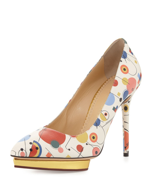 Freud asked: What do women want? Poor, clueless Siggy. Everyone knows that women want footwear. Behold the clever Kandinsky pump by Charlotte Olympia.