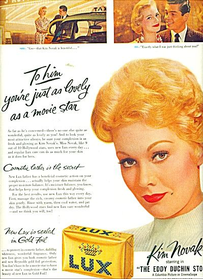Kim Novak ad for Lux Soap, 1956.